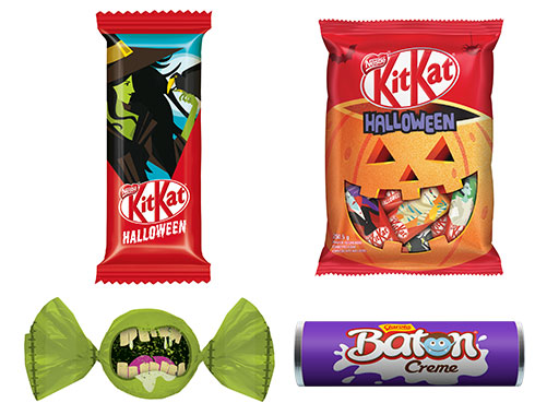 A Nestlé lançou pacotes de KitKat (15 unidades por R$ 18,99*), bombons Garoto (25 unidades por R$ 19,99*) e chocolates Baton (30 unidades por R$ 29,99*) no tema Halloween.