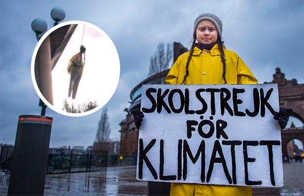 Boneco da ativista adolescente Greta Thunberg é enforcado em Roma