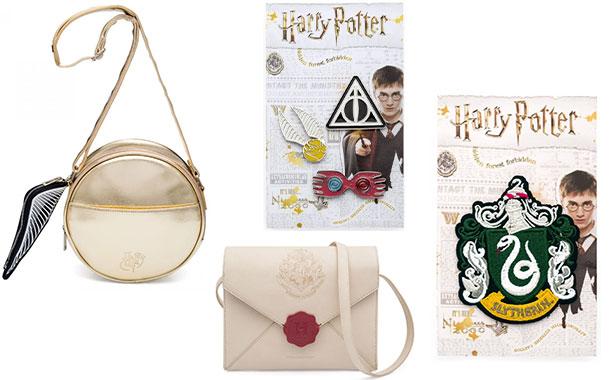 Acessórios de Harry Potter da Imaginarium: Bolsa Pomo de Ouro (R$ 229,90*); Cartela de Pins (R$ 29,90*); Bolsa Carta de Hogwarts (R$ 239,90*); Patch Sonserina (R$ 19,90*).