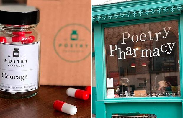 Nessa farmácia, poesia são receitadas no lugar de medicamentos