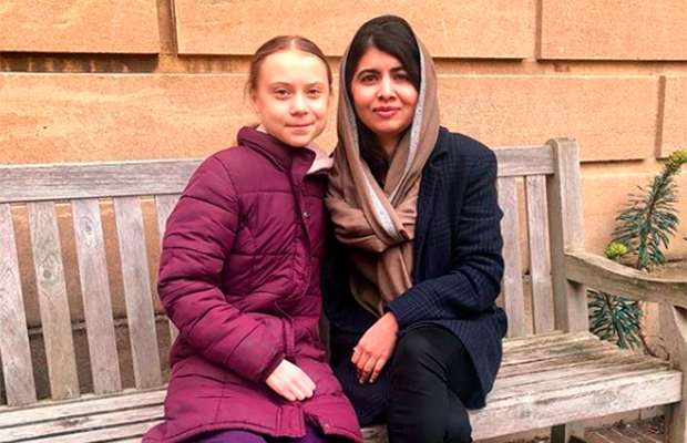 Greta Thunberg se encontra com Malala Yousafzai em Oxford, na Inglaterra