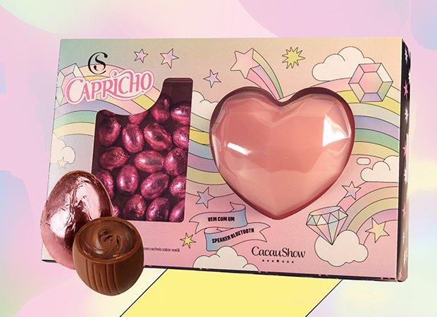 Kit Páscoa da CAPRICHO com a Cacau Show vem com ovinhos sabor avelã (180g) e uma speaker em formato de coração (R$ 74,90*)