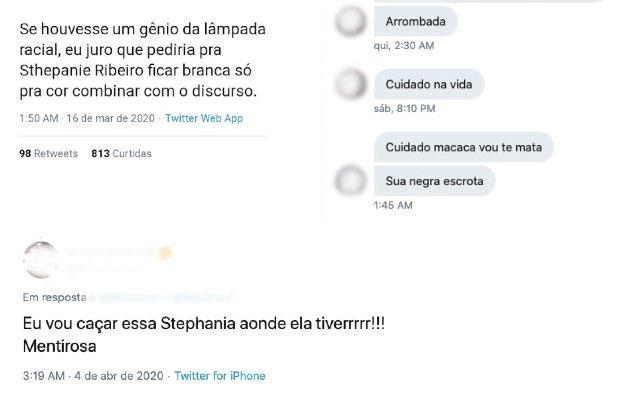 Ameaças que a escritora e ativista Stephanie Ribeiro recebeu online