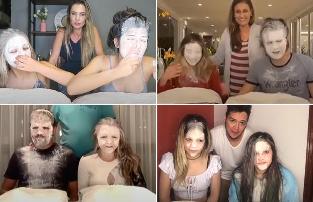 """As meninas do canal Beleza Teen, Luan Santana, Rafa Kalimann e MC Melody foram alguns dos que entraram na onda do """"Desafio da Farinha"""""""
