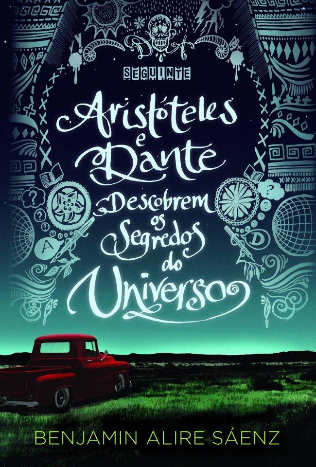 Capa de Aristóteles e Dante descobrem os segredos do universo em tons de azul com um carro vermelho no canto inferior