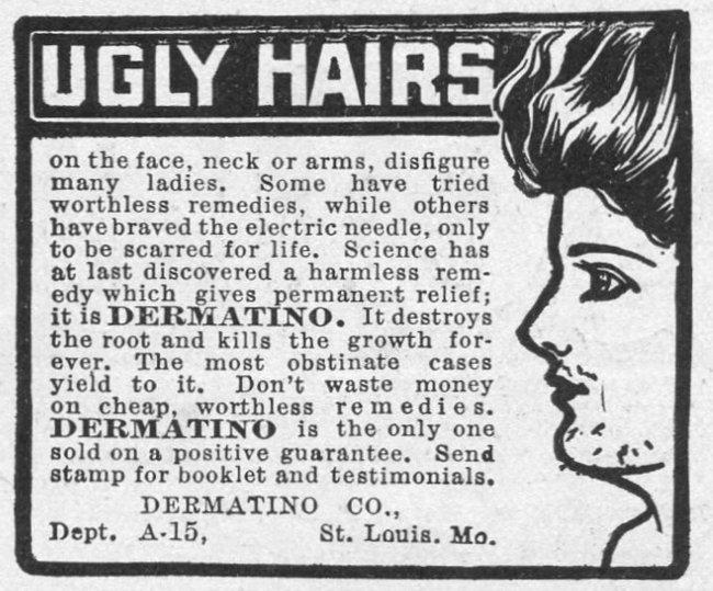 """Propaganda de produto depilatório que fala sobre os """"pelos feios na face, pescoço e braços de muitas mulheres"""""""