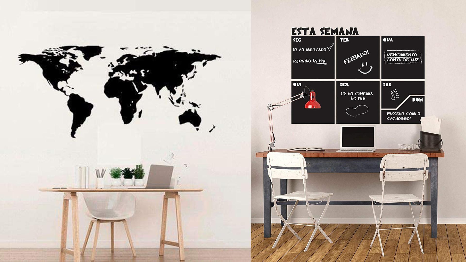 A imagem mostra duas fotos de adesivos de parede, um no formato de mapa na cor preta e outro na cor preta, com 6 quadrados formando um calendário semanal.