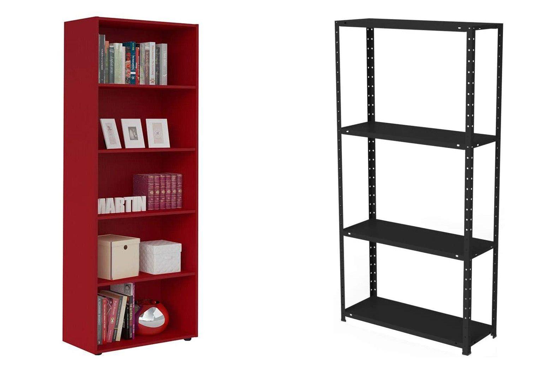 A imagem mostra duas estantes, uma vermelha e outra preta, num fundo branco.