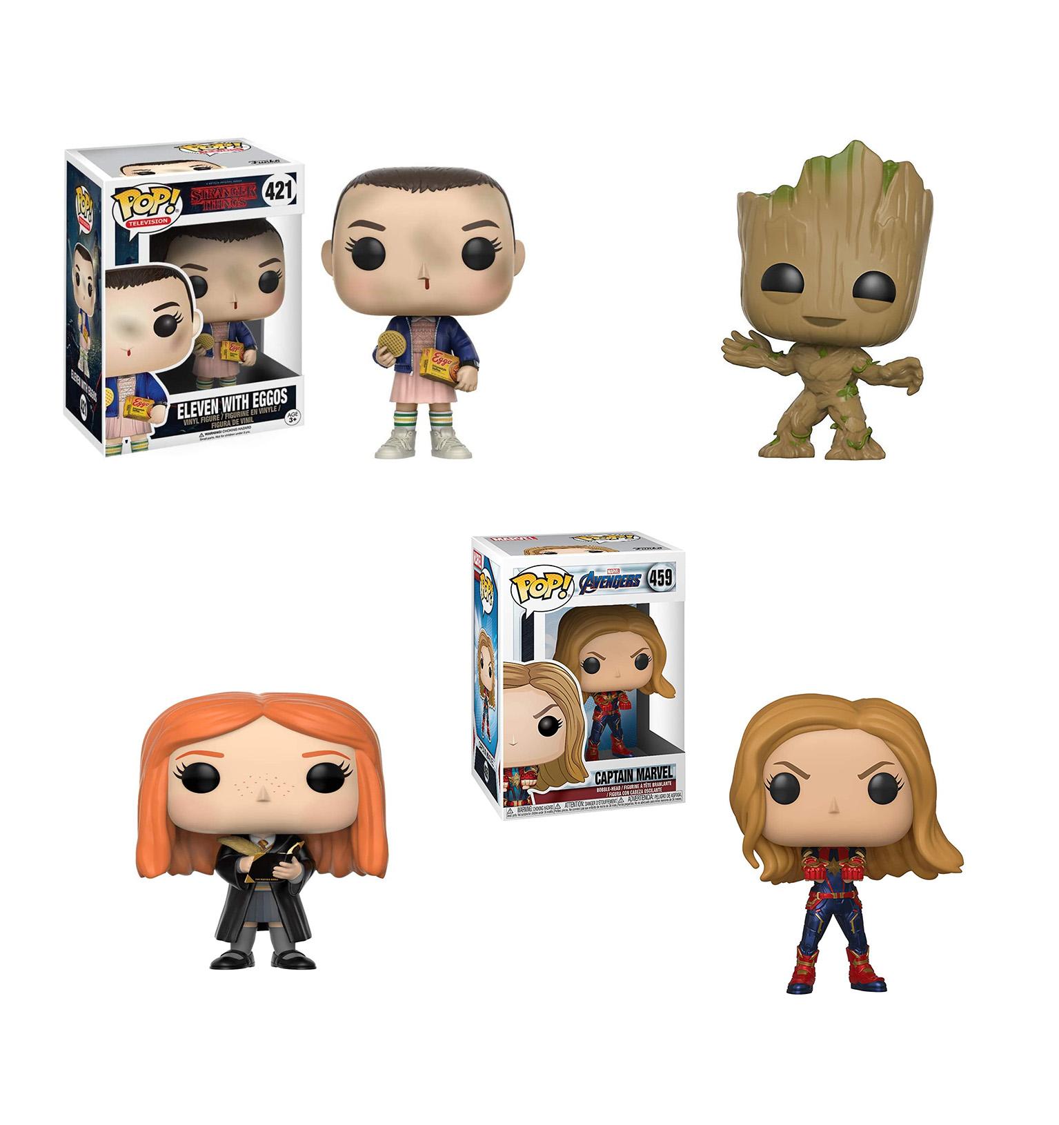 A imagem mostra 5 tipos de bonecos decorativos de personagens de séries e filmes num fundo branco.