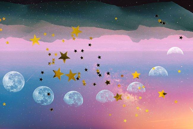 ilustração de um céu com estrelas e várias fases da lua