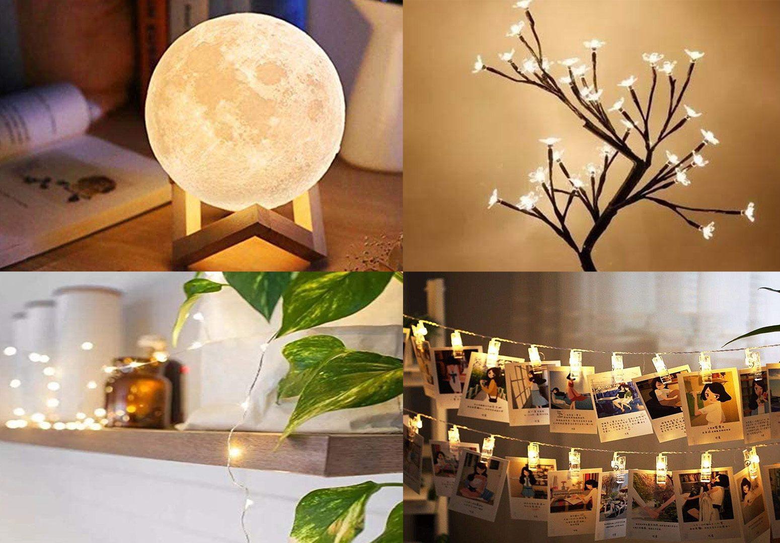 A imagem mostras quatro tipos de luminárias, uma em formato de lua, outra em formato de árvore de cerejeira, outra de luzes de led e outra feita de um varal de fotos com pregadores iluminados.