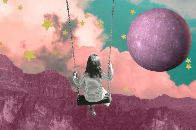 ilustração de uma menina em um balanço de frente para a lua