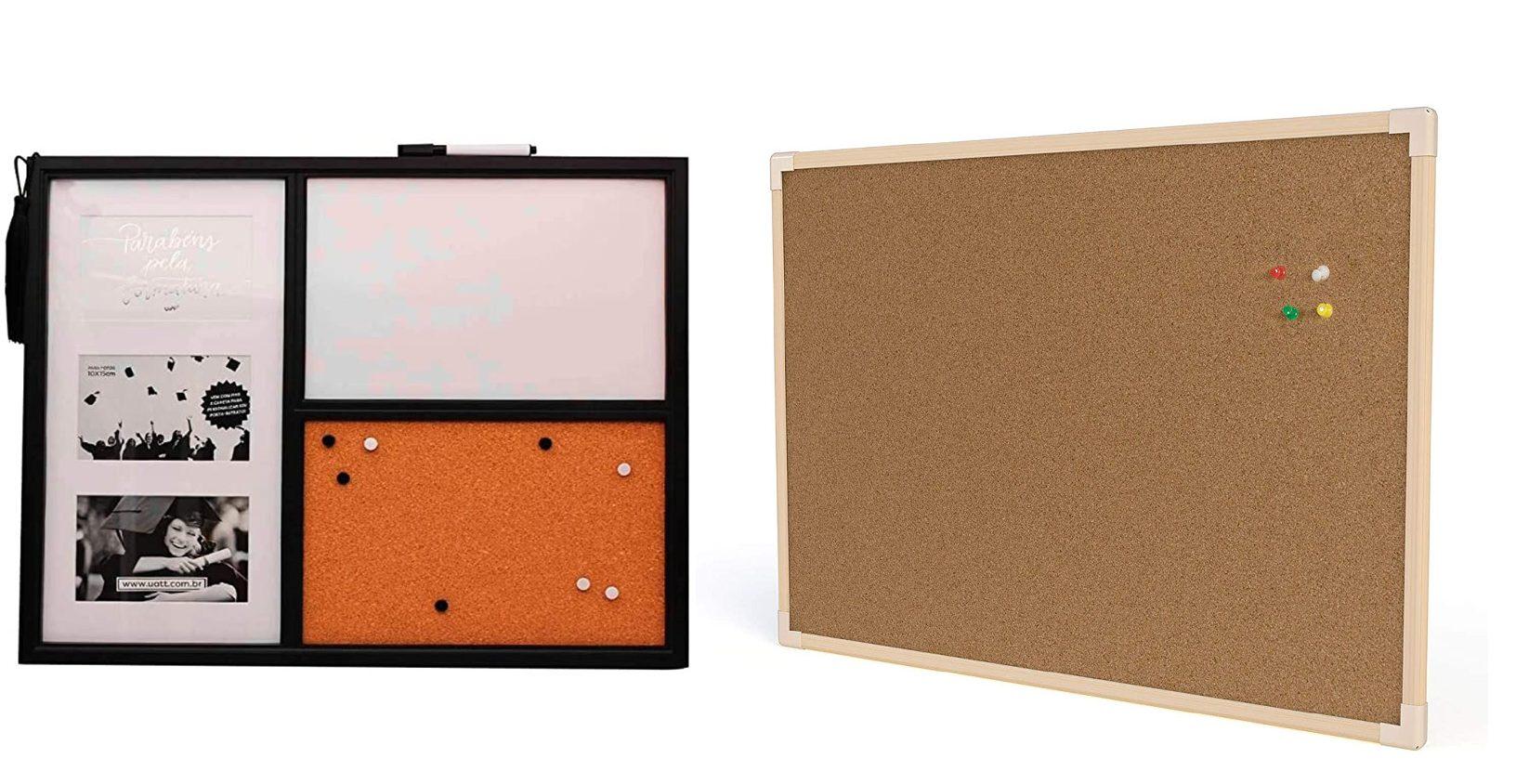 A imagem mostra dois quadros de organização em cortiça.