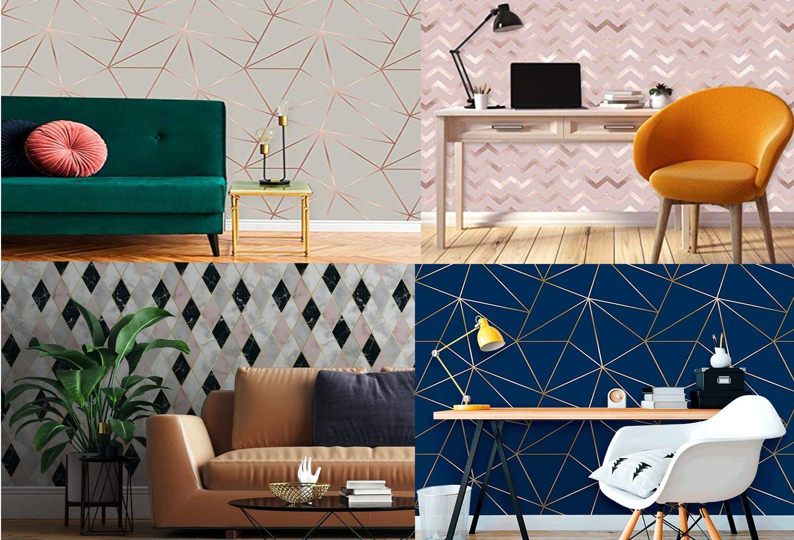 A imagem mostra 4 cenários com papéis de parede diferentes.