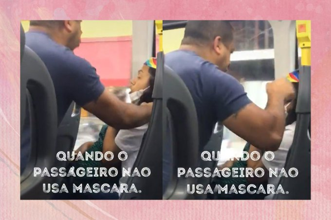 """Homem sem máscara agride mulher em ônibus e se defende: """"aqui é polícia"""""""