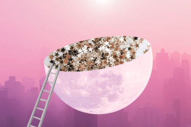 ilustração da lua partida ao meio com estrelinhas brilhosas