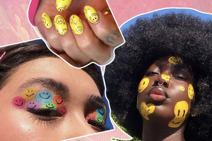 Nail art e maquiagem carinha feliz