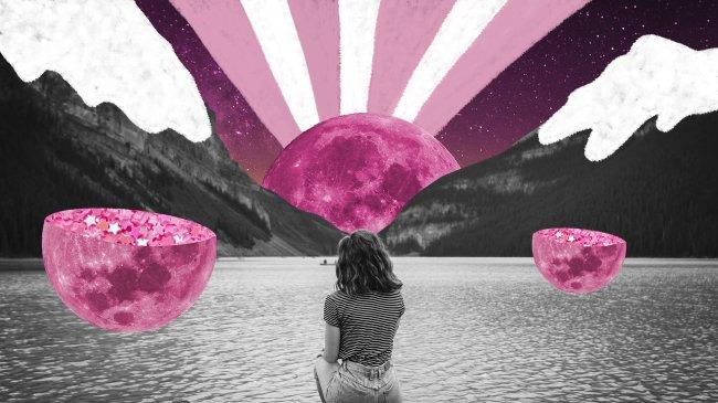 ilustração de uma garota olhando o por do sol