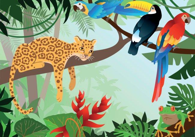 Ilustração de animais nativos da Amazônia