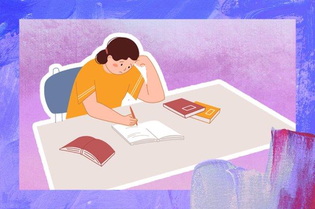 ilustração de uma garota sentada segurando um lápis diante de um caderno. Ela está com uma das mãos no rosto e sua expressão é de tristeza