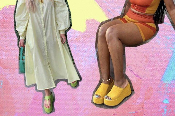 Tamancos e chinelos com salto tendência