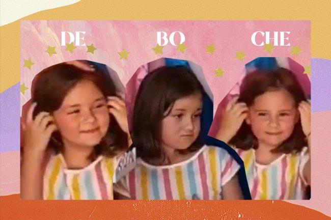 Três colagens da Maria Antônia, do vídeo viral com a irmã no aniversário, ela está fazendo três expressões de deboche na imagem com o texto