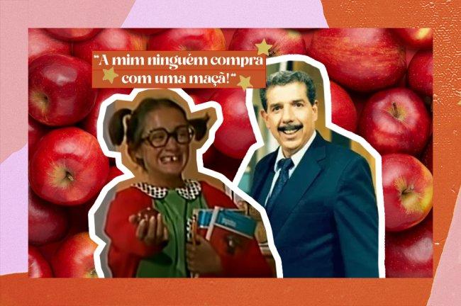 """A imagem mostra um recorte dos personagens da série Chaves, Chiquinha - que está segurando uma maça e alguns livros - e o professor Girafales. Em cima do recorte do professor, há uma fala dele em letras brancas com fundo laranja que diz """"A mim ninguém compra com uma maçã!"""". O fundo da imagem é uma série de maçãs vermelhas."""