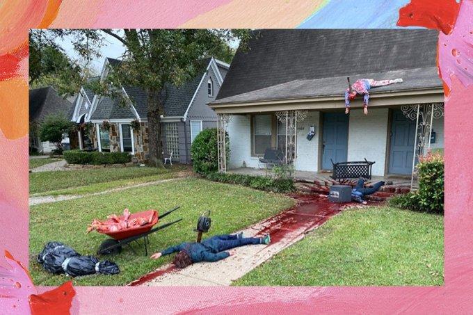 """Artista se empolga com decoração de Halloween e polícia cai em """"massacre fake"""""""