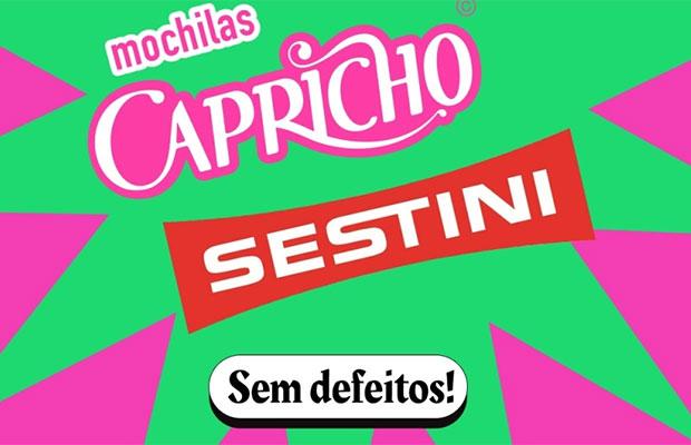 Montagem verde com detalhes em rosa escrito Mochilas CAPRICHO Sestini sem defeitos!