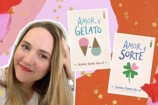 Montagem com foto de Jenna Evans Welch e as capas dos livros Amor & Gelato e Amor & Sorte em um fundo em tons de rosa e laranja com estrelas amarelas como decoração