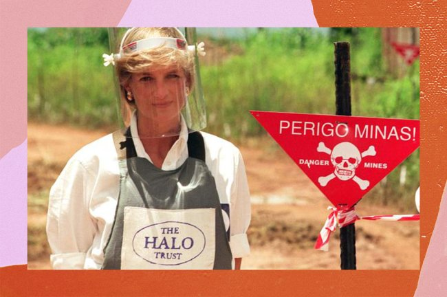 Lady Di visitando mina na Angola