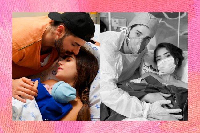 Duas fotos Alok e Romana Novais no parto dos filhos. A esquerda, no parto de Ravi. A direita, no parto de Raika