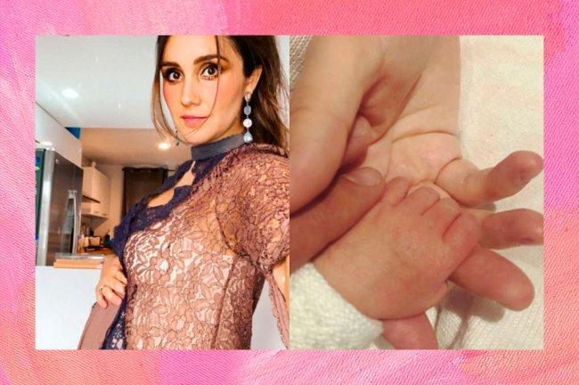 À esquerda, Dulce Maria grávida. À direita, ela segurando a mão da filha Maria Paula.