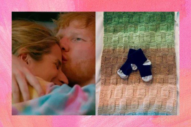 Ed Sheeran e CHerry Seaborn abraçados à esquerda. À direita, post do Instagram de Ed, com uma foto de meias de bebê, dando boas vindas a filha Lyra