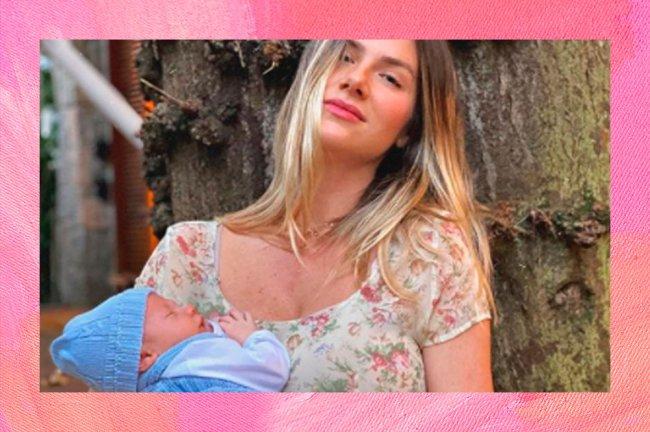Giovanna Ewbank com seu terceiro filho, Zyan, no colo