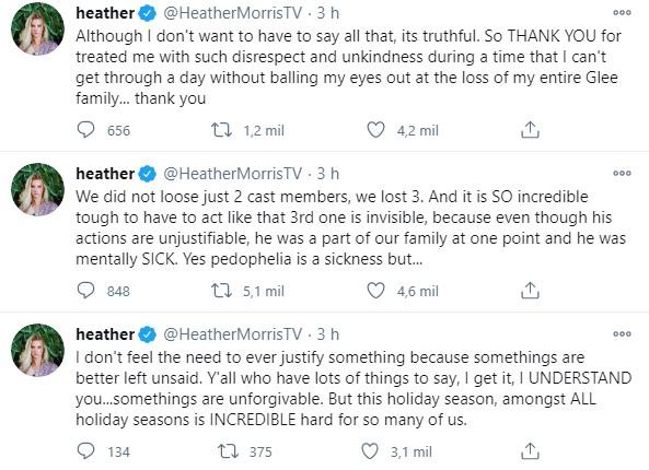 Tuítes de Heather Morris defendendo Mark Salling
