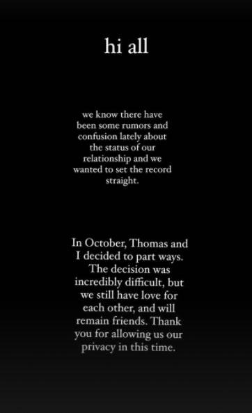 Dove Cameron confirma término de namoro com Thomas Doherty