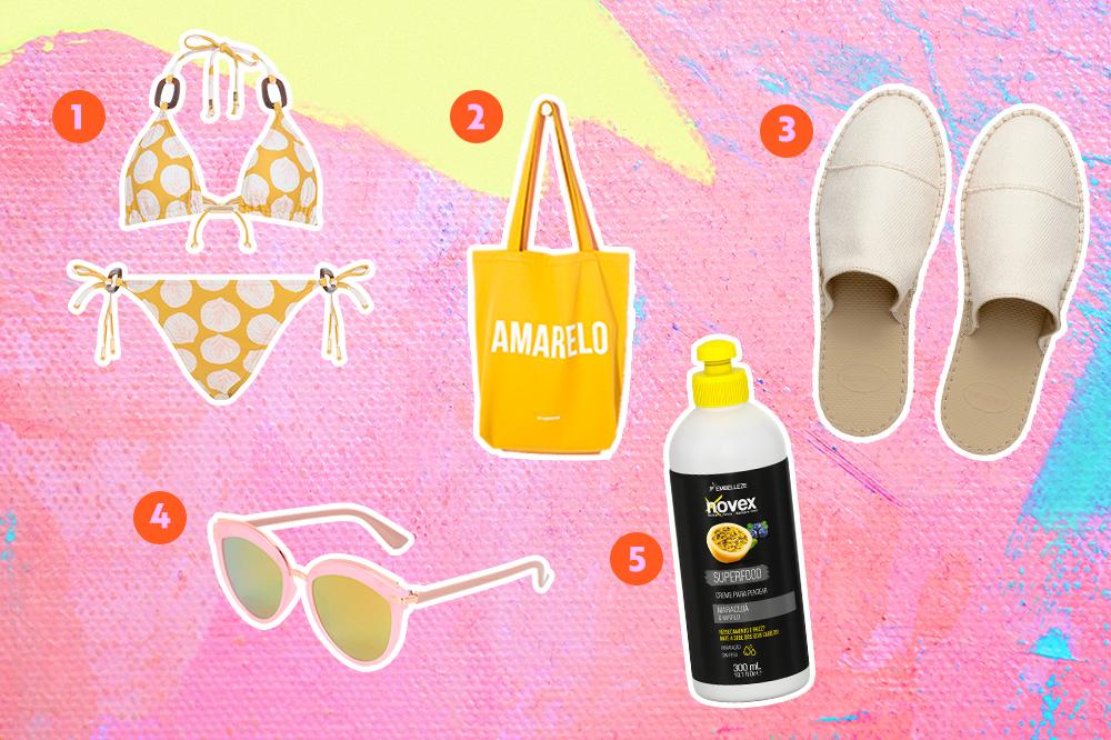 Biquíni, bolsa, chinelo mule, óculos de sol e creme para cabelo para usar no verão