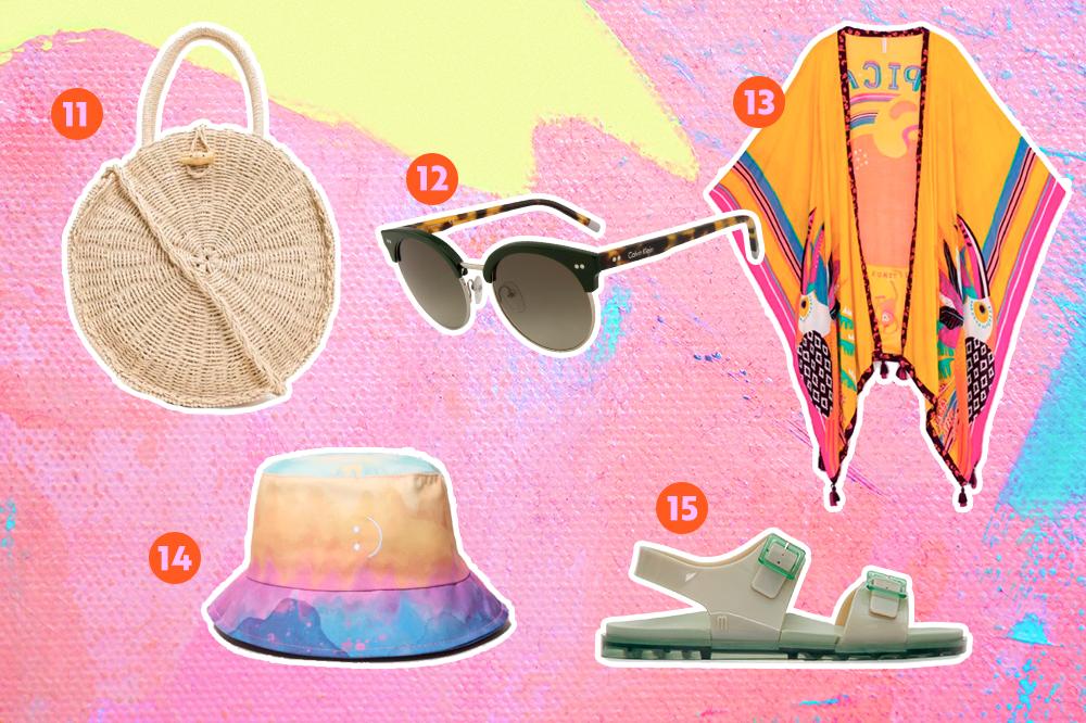 Bolsa de palha, óculos de sol, kimono, bucket hat e sandália para usar no verão