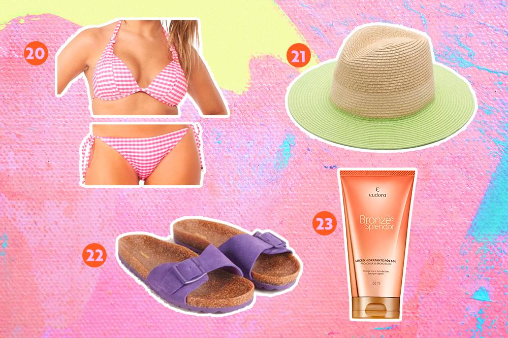 Biquíni, chapéu panamá, birken e loção pós sol para usar no verão