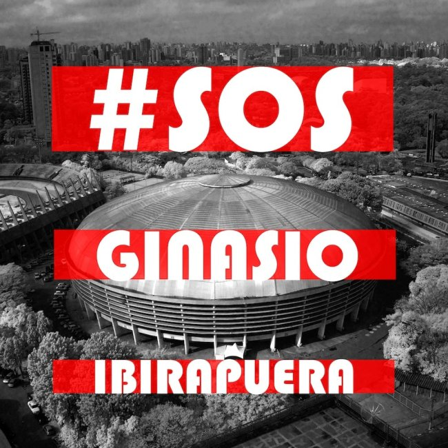 Imagem do Ginásio Ibirapuera com a frase