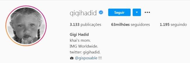 Descrição do perfil de Gigi Hadid no Instagram com Khai's mom