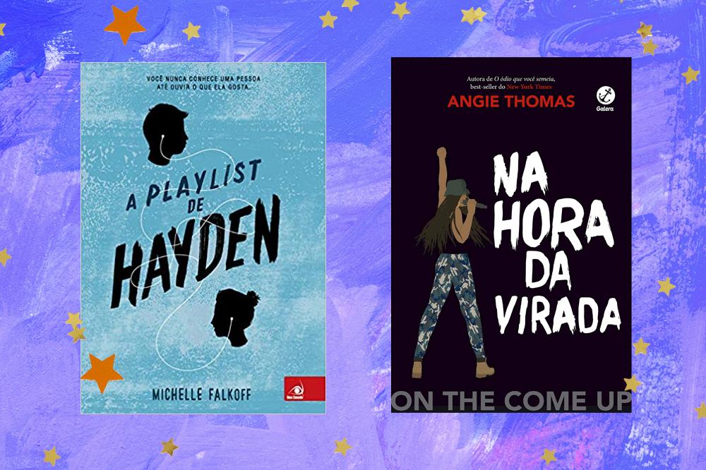 Capas dos livros A Playlist de Hayden e Na Hora da Virada