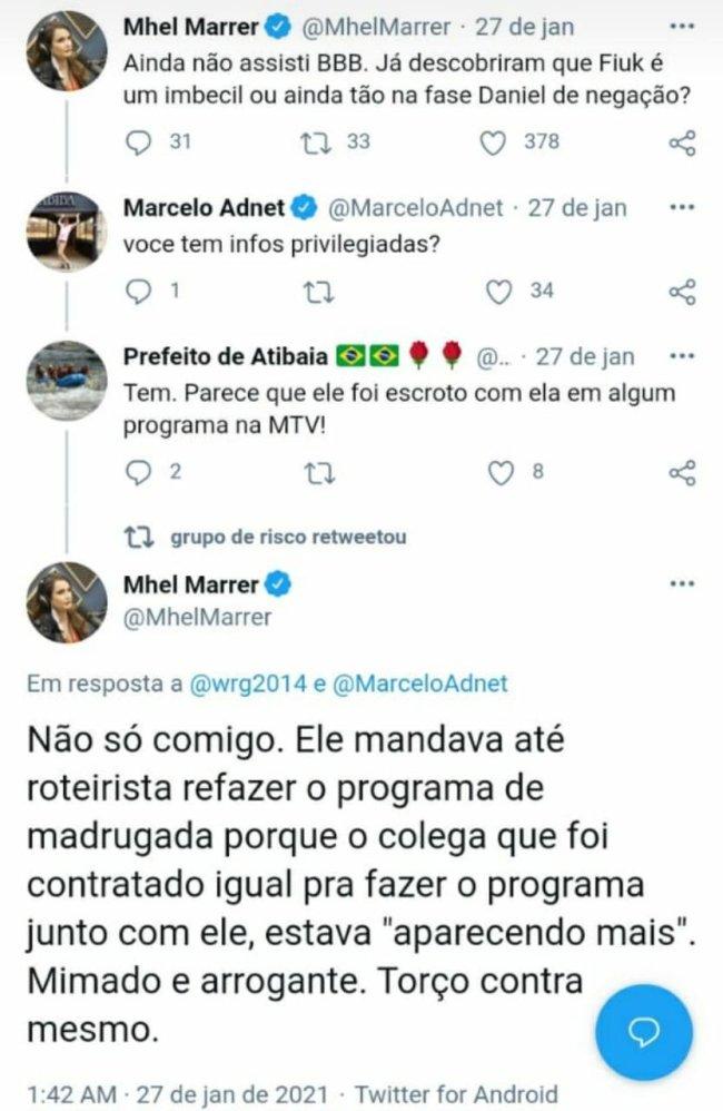 Mhel Marrer falando mal de Fiuk