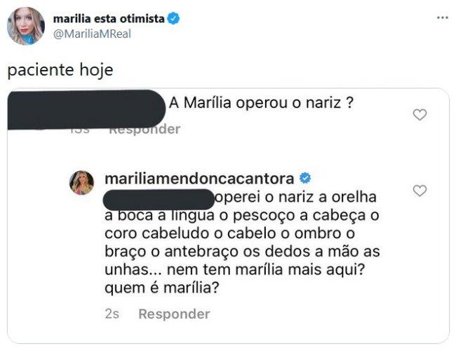 Marília responde seguidor que a questiona sobre seu nariz