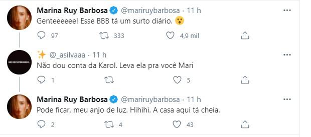 Tuíte Marina Ruy Barbosa