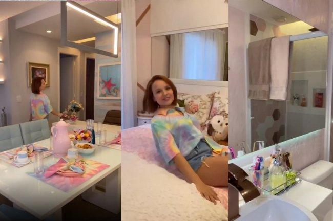 Mesa de jantar e mesa de escritório do apartamento; Larissa em sua cama; Banheiro do quarto