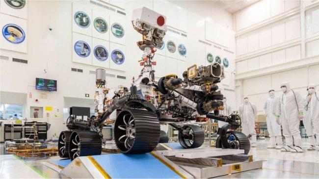 Um dos registros do pouso da sonda Perserverance