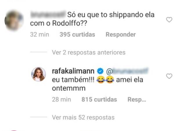 Rafa Kalimann shippa Rodolffo e Sarah
