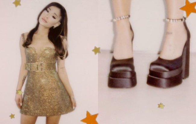 Ariana Grande aparece com vestido dourado e perfeito